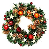 Naler 13in Christmas Wreath Decoration With Warm White LED Lights (Small Image)