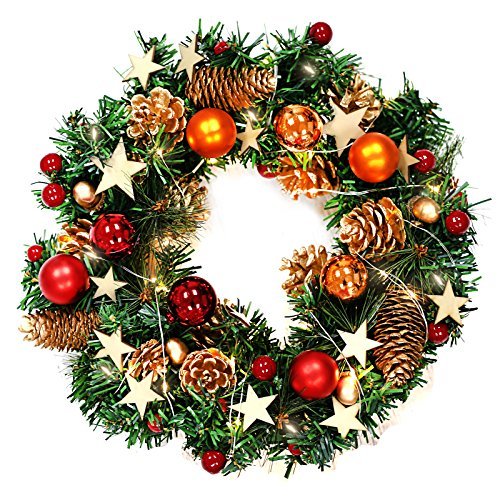 (Naler Christmas Wreath, 13-Inch Merry Christmas Decorated Pine Wreath with Color Balls, Golden Pine Cones, Berries and 20 Battery Operated Warm White LED Lights for Christmas Party Decor)