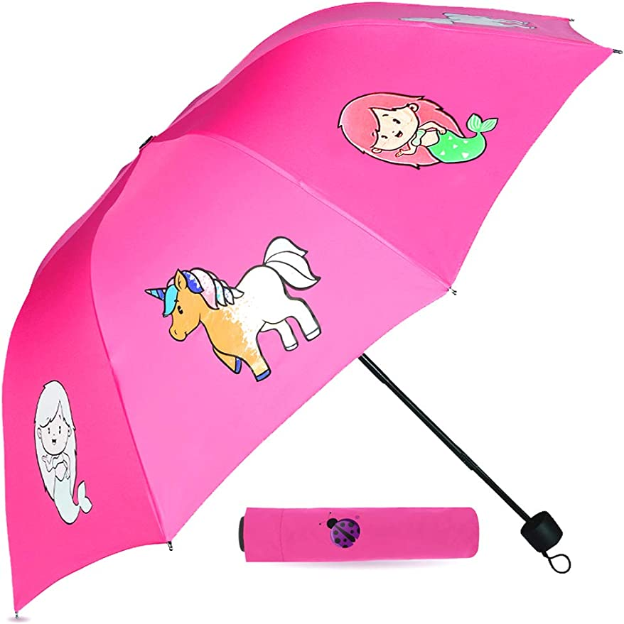 Amazon Com Purple Ladybug Pink Color Changing Kids Umbrella For Girls Cute Toddler Umbrella Displays Colorful Mermaid Unicorns When It Rains Small Portable Compact Umbrella Great Gift Idea For Girl