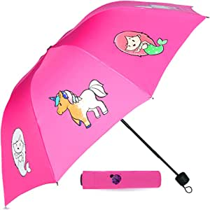 Pink Color Changing Compact Kids Umbrella for Girls! This Totes Umbrella for Kids Displays Colorful Mermaid & Unicorns When it Rains! Cute Toddler Umbrella for School & Travel, Great Girl