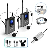 Hotec Dual Wireless Lapel/Lavalier Microphone and Headset Microphone System with Mini Rechargeable Receiver, For Recording and Live Performances (H-U25S) (Dark Grey)