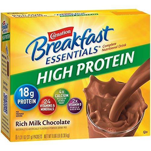 Carnation Breakfast Essentials High Protein Powder, Rich Milk Chocolate, 8-Count Box of 1.27 oz Packets, 6 Pack