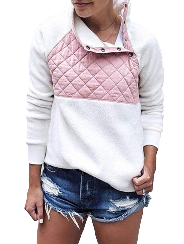 SHIBEVER Womens Plus Fleece Sweatshirt Long Sleeve Oblique Button Geometric Pattern Pullover Coats Jackets Outwear