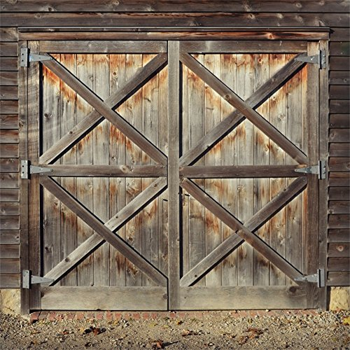Backdrop Door - Leowefowa Vinyl Old Barn Door Backdrop 8X8FT Western Cowboy Rural Background for Photography Nostalgia Wood Plank Kids Adults Photo Studio Props