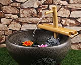 foci cozi Bamboo Water Fountain Zen Medium 12 Inch with Adjustable Arms, Indoor or Outdoor Outdoor Garden Decor Fountain, Natural, Split Resistant Bamboo, Combine with Any Container