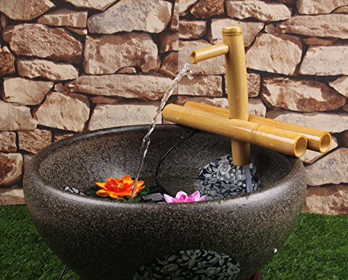 foci cozi Bamboo Water Fountain Zen Medium 12 Inch with Adjustable Arms, Indoor or Outdoor Outdoor Garden Decor Fountain, Natural, Split Resistant Bamboo, Combine with Any Container by foci cozi