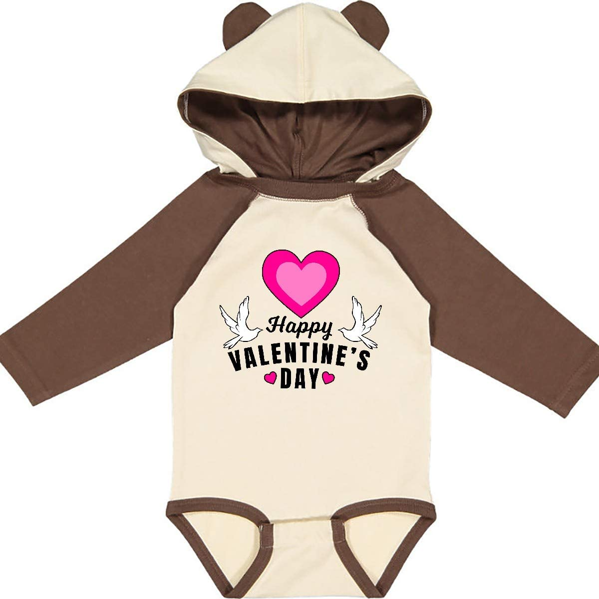 inktastic Happy Valentines Day with Doves and Hearts Long Sleeve Creeper