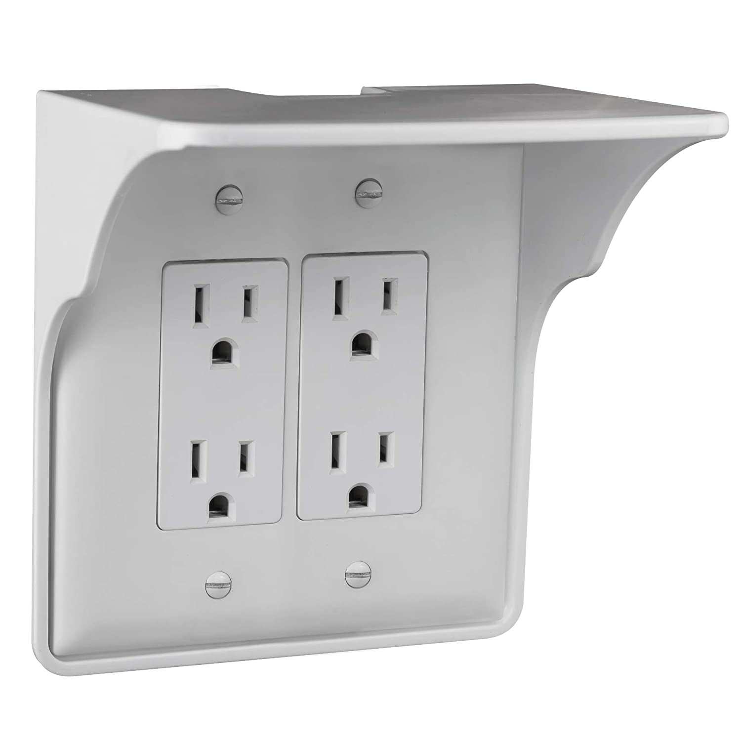 Storage Theory | Double Outlet Power Perch | Ultimate Outlet Shelf | Easy Installation, No Additional Hardware Required | Holds Up to 10lbs | White Color | Single Shelf (2-Pack)