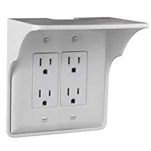 Storage Theory | Double Outlet Power Perch | Ultimate Outlet Shelf | Easy Installation, No Additional Hardware Required | Holds Up to 10lbs | White Color | Single Shelf