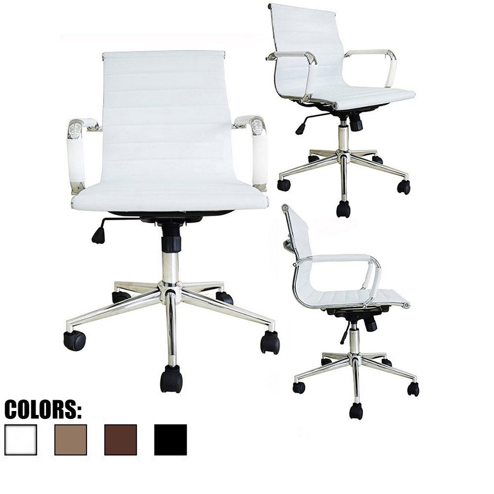 eames ribbed chair tan office. Amazon.com: 2xhome White Ergonomic Executive Chair Mid Back PU Leather With Arm Rest Tilt Adjustable Height Wheels Arms Swivel Task Computer Eames Ribbed Tan Office