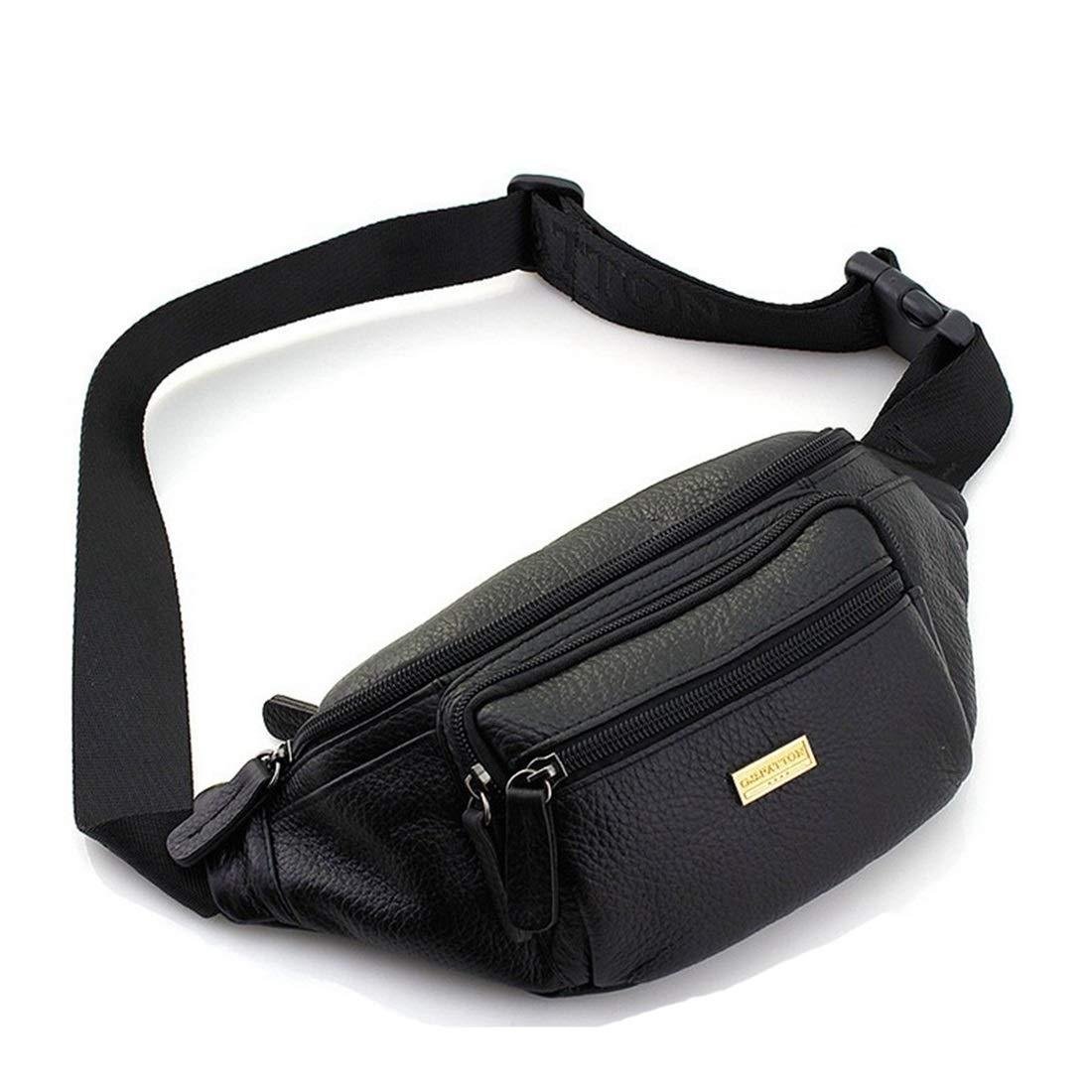 RABILTY Belt Holster Bag Fanny Waist Pack Crossbody Bag for Men Boy Black Cowhide Travel Neck Pouch Color : Black