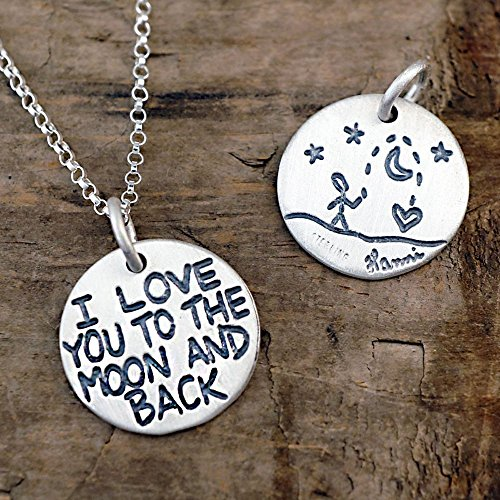I Love You To The Moon And Back Necklace, Sterling Silver on 18