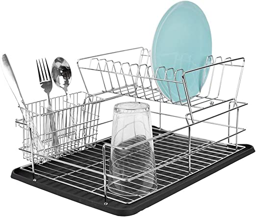 Home Basics DD41799 Kitchen Sink Countertop 2 Tier Dish Drying Rack and  Draining Board (Black) – Cutlery Holder, Fits Large Plates, Dry & Drip  Tray, ...