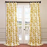 HPD HALF PRICE DRAPES Half Price Drapes PRTW-D35-96 Triad Printed Cotton Twill Curtain, 50 x 96, Gold For Sale