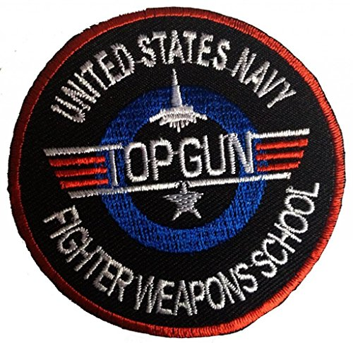 Top Gun Embroidered Iron on Patch ,Sew On Logo -