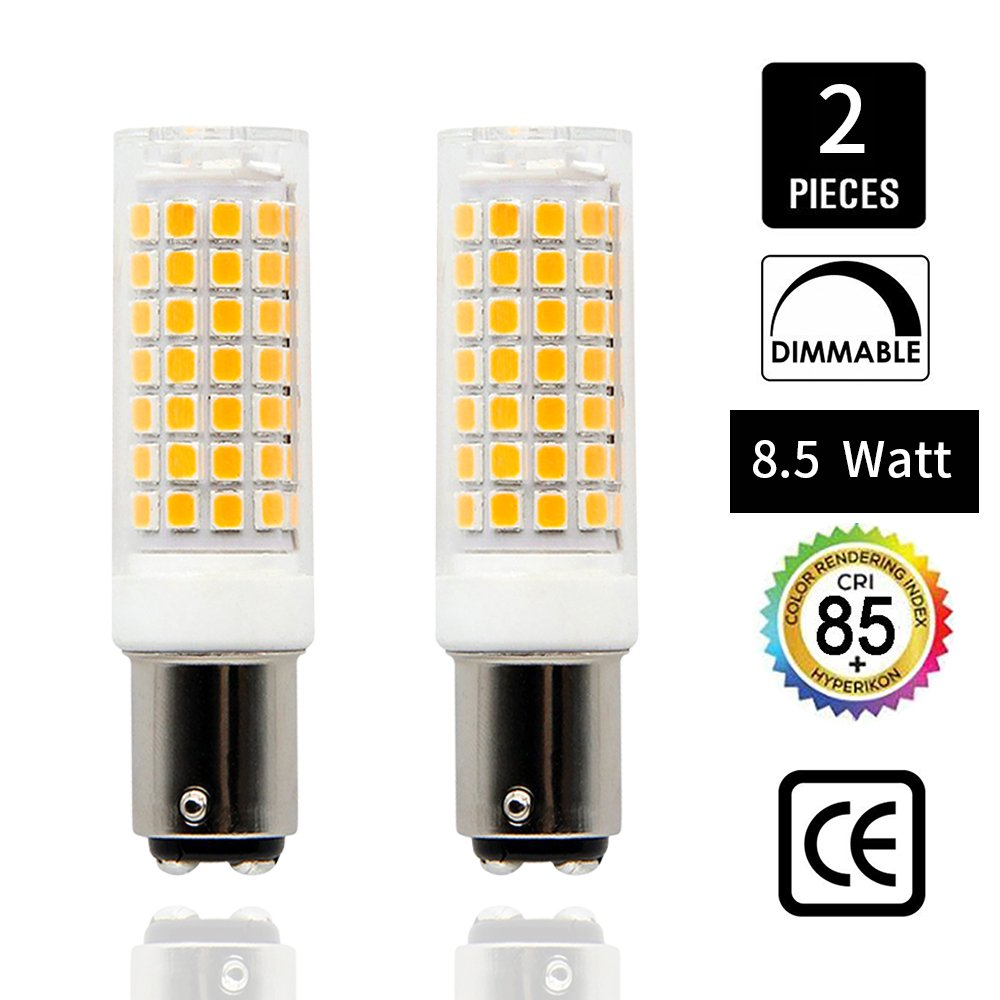Ba15d led light bulb Dimmable 8.5W, 75W-100W halogen bulbs replacement, Double Contact Bayonet base 110V 120V 130V input, Warm White 3000K (Pack of 2)