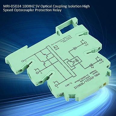 MRI-05D24 100KHZ 5V Aislamiento de acoplamiento /óptico Optoacoplador de alta velocidad Rel/é de protecci/ón de la placa de equilibrio de la bater/ía Optoacoplador Aislador de rel/é PLC M/ódulo de rel/é PLC