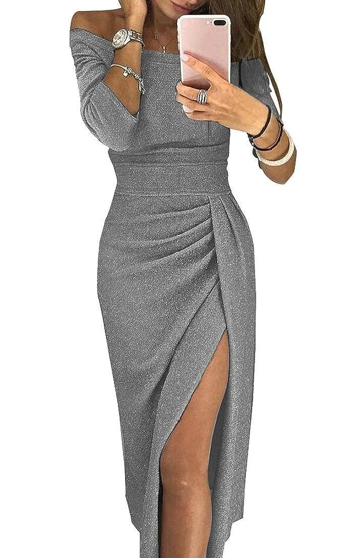 M/&S/&W Women Off Shoulder Long Sleeve High Slit Evening Party Cocktail Dress