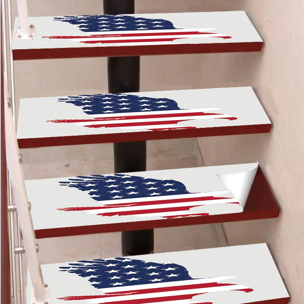 3D Print Non-Slip PVC Stair Pads,Self-Adhesive Steps Sticker,Staircase Treads Protector,Stars and Stripes on a Bald Eagle American Way of Life Bird Symbol,for Home Decoration(9.8X39 inch) Set of 5PCS,