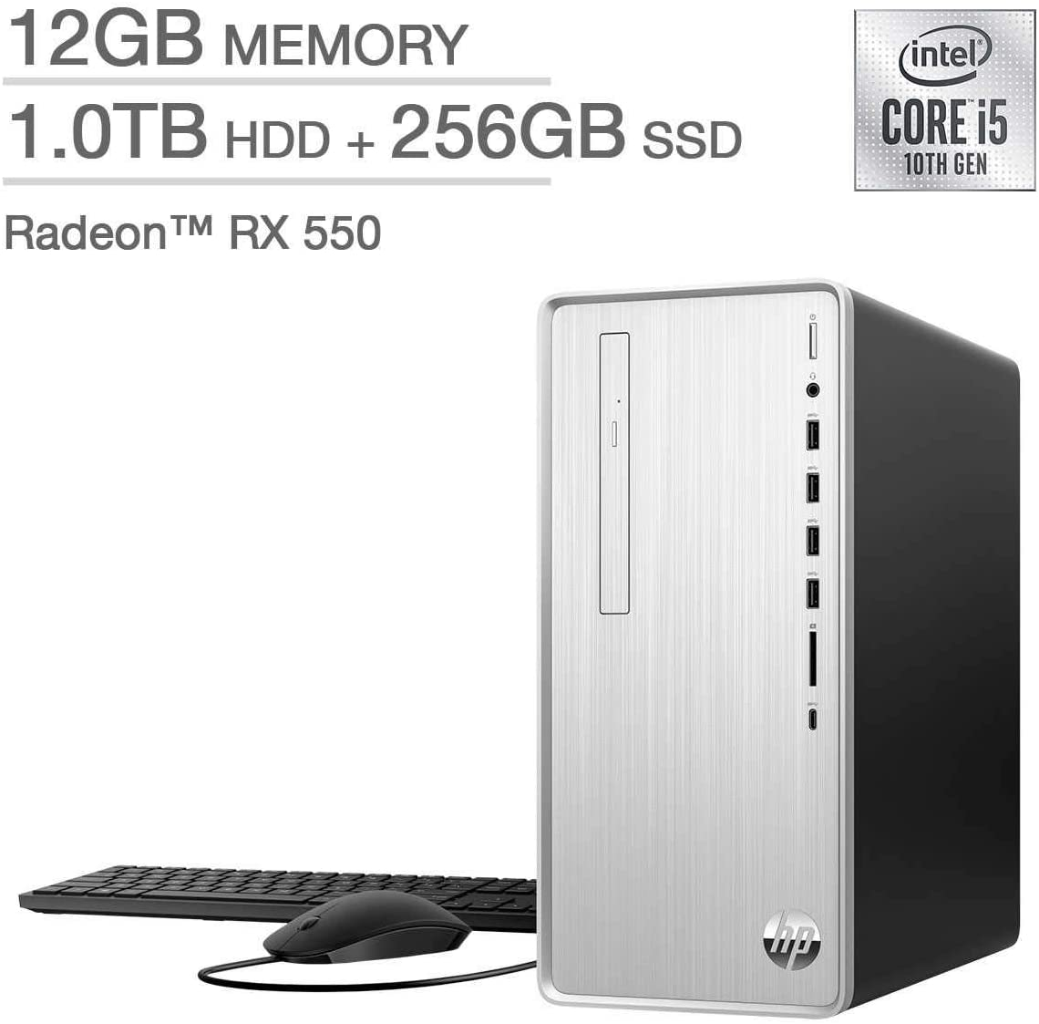 HP Pavilion Desktop - TP01-1127c 10th Gen Intel Core i5-10400F - AMD Radeon RX 550 12GB DDR4-2666 SDRAM 256 GB SSD + 1TB 7200RPM SATA Hard Drive