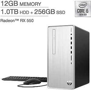 HP Pavilion Desktop - TP01-1127c 10th Gen Intel Core i5-10400F - AMD Radeon RX 550 12GB DDR4-2666 SDRAM 256 GB SSD + 1TB 7200RPM SATA Hard Drive