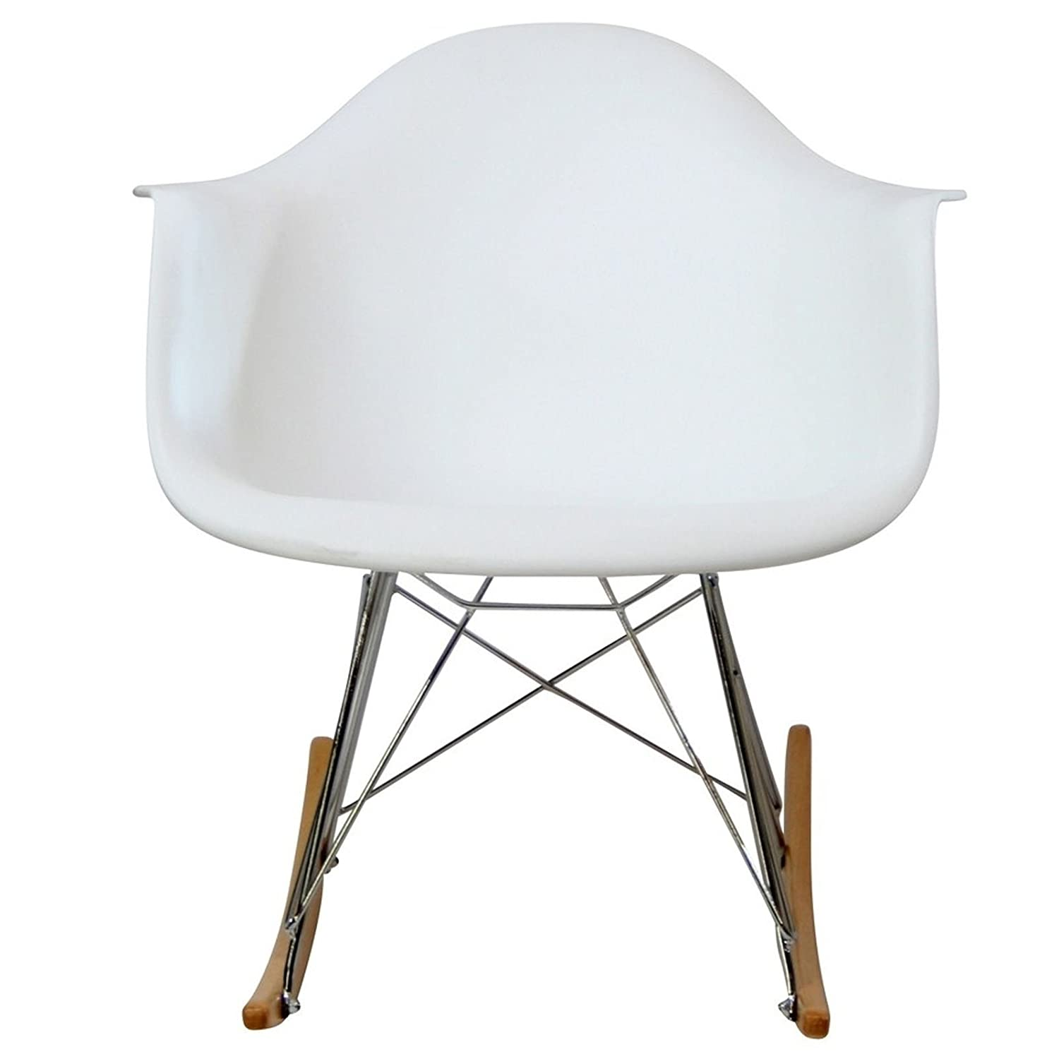 Eames plastic rocking chair - Amazon Com Modway Molded Plastic Armchair Rocker In White Kitchen Dining