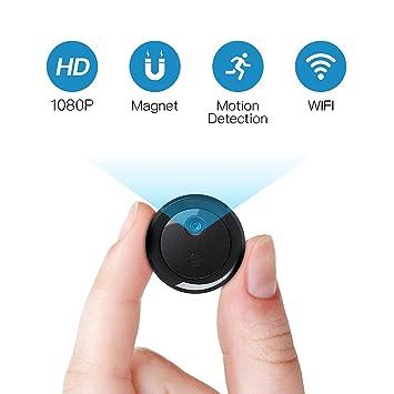 FREDI Mini WiFi Cámara Espía/Cámara Oculta/ 1080P HD Mini WiFi Cámara Portátil Interior/Hogar Cámara IP de Seguridad/Visión Nocturna Detección de ...