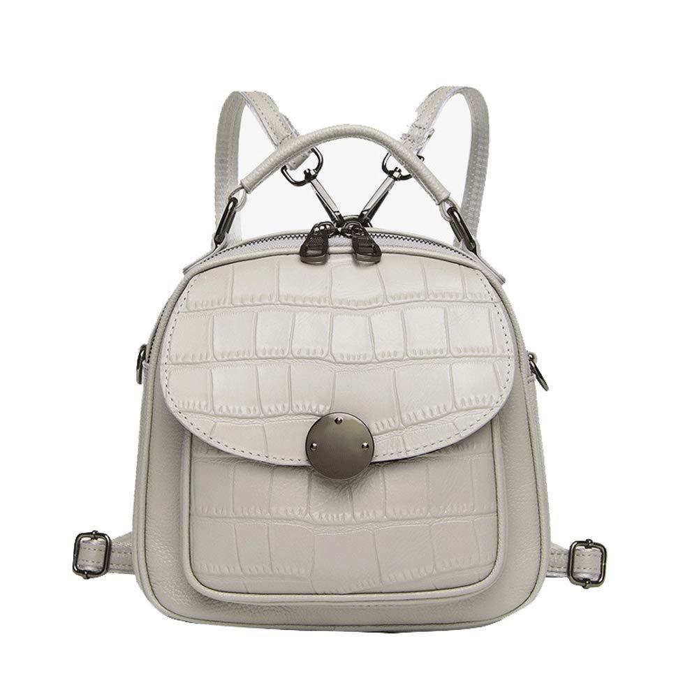 女性のバックパック、ファッショントップレイヤーの牛革ハンドバッグ、ワイルドショルダーバッグ、ショルダーバッグ、携帯用小型バックパック-W B07RHTNMH1 White
