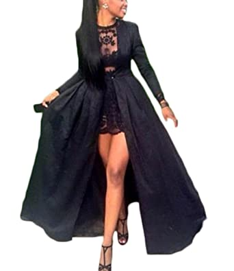 7481c6cbdd518 Ri Yun Women's Two Piece Prom Dresses 2018 Long Sleeve Lace Sexy Formal  Evening Ball Gowns with Coat at Amazon Women's Clothing store: