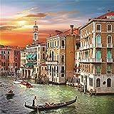 venetian ice cream - Leowefowa 6X6FT Seaside Town Backdrop Venetian Sunset Scene River House Boat Tourist Attraction European Archiculture Travel Vinyl Photography Background Kids Adults Photo Studio Props