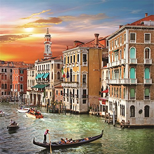 Leowefowa 8X8FT Seaside Town Backdrop Venetian Sunset Scene River House Boat Tourist Attraction European Archiculture Travel Vinyl Photography Background Kids Adults Photo Studio Props (Scene Venetian)