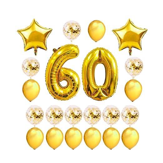 FENICAL 24 Piezas Número 60 Globos de cumpleaños Aniversario ...