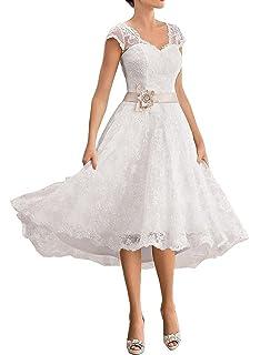 HUINI V-Neck Lace Applique Short Wedding Dresses Flower Sashes Bridal Gowns