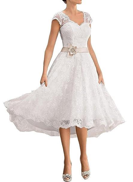 HUINI V-Cuello de Encaje Applique Vestidos de Novia Cortos Flor Sashes Vestidos de Novia