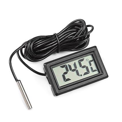 Termómetro digital eSky24 pequeño, de funcionamiento a pilas, con pantalla LCD, para acuario