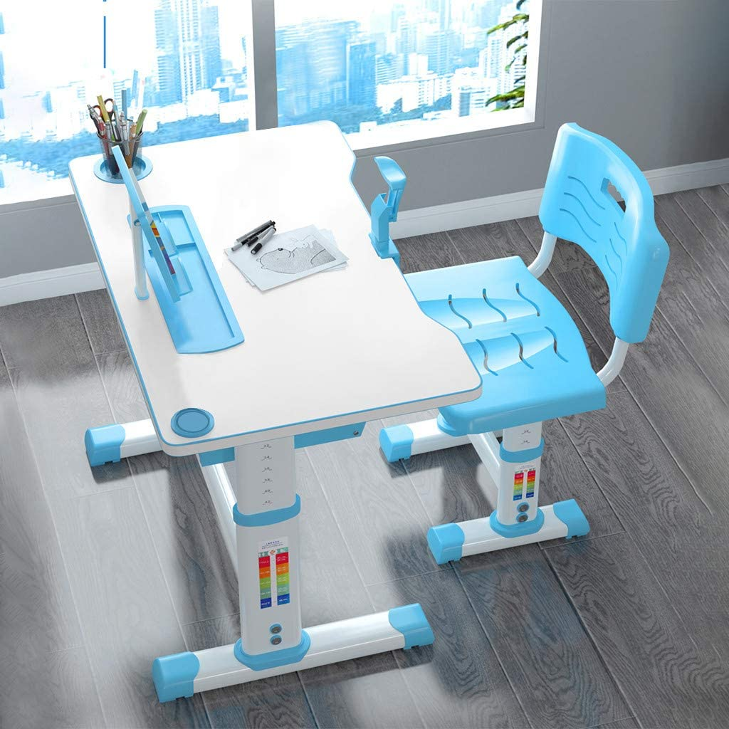 Pull Out Drawer with Tilted Desktop 70x46CM Miaoao Height Adjustable Children Study Desk Table /&Chair Drawing Set Bookstand Blue Kids Interactive Workstation