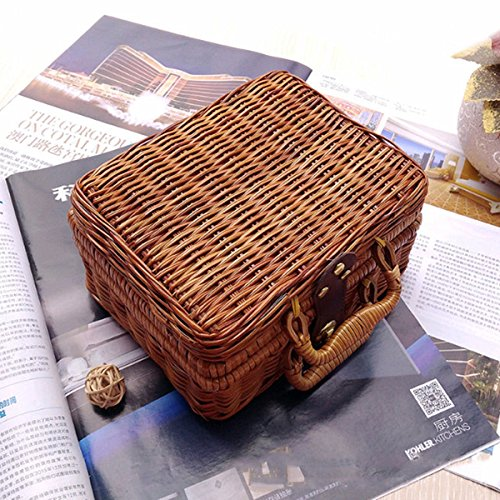 Jeteven Women Straw Rattan Storage Box Weave Bamboo Handbag Picnic Basket Hand-woven Beach Outdoor Portable Bag