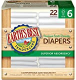 Earth's Best TenderCare Chlorine-Free Diapers, Fragrance Free, Size 6, Weight 35+ lbs, 22 Count (Pack of 4)