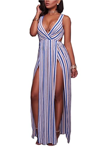 6adbd5bc732 Amazon.com  Remelon Womens Deep V Neck High Slit Striped Overlay Maxi  Rompers Dress  Clothing