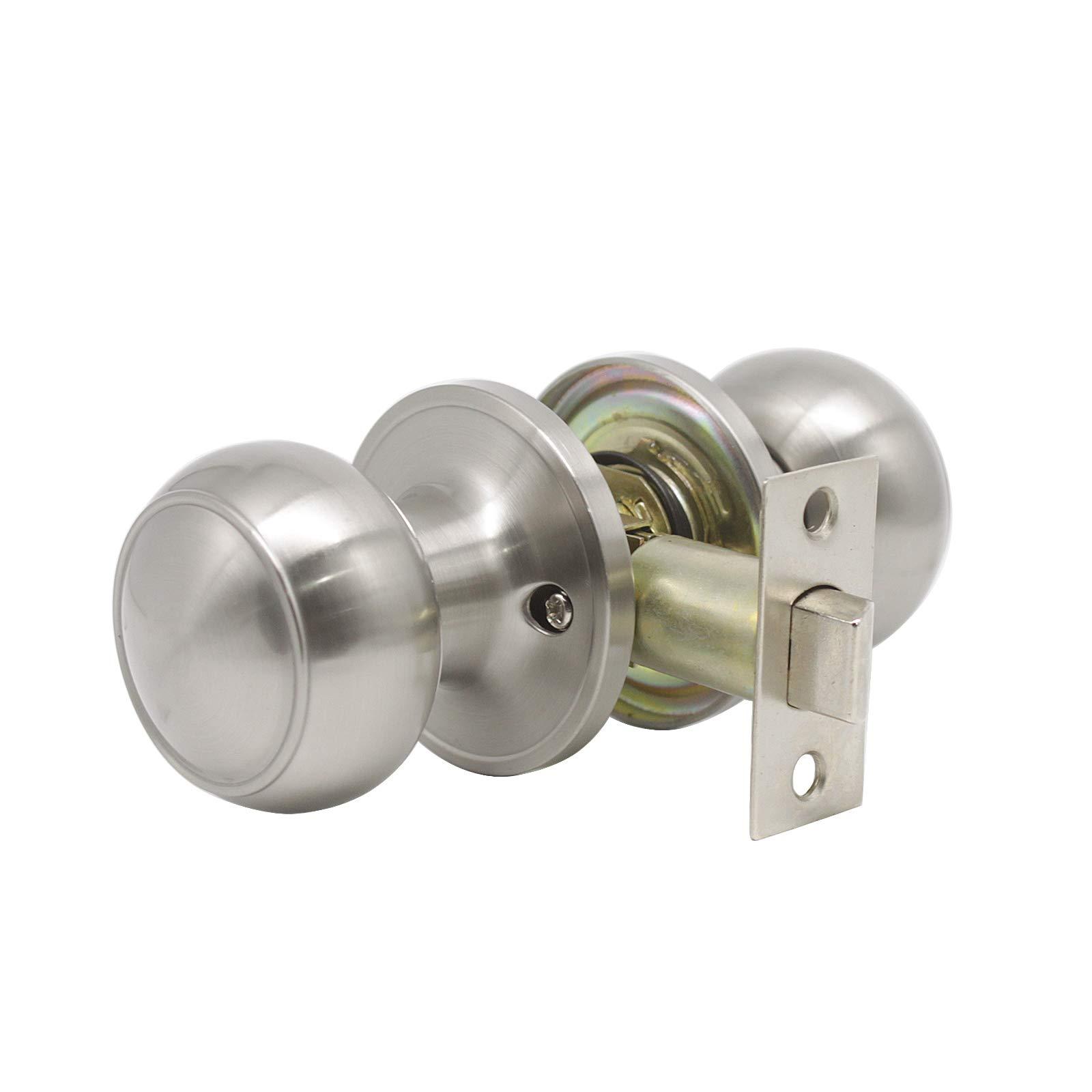 8 Pack Probrico Interior Passage Keyless Door Knobs Door Lock Handle Handleset Lockset Without Key Doorknobs Satin Nickel for Hall/Closet-Door Knob 609 by Probrico (Image #3)