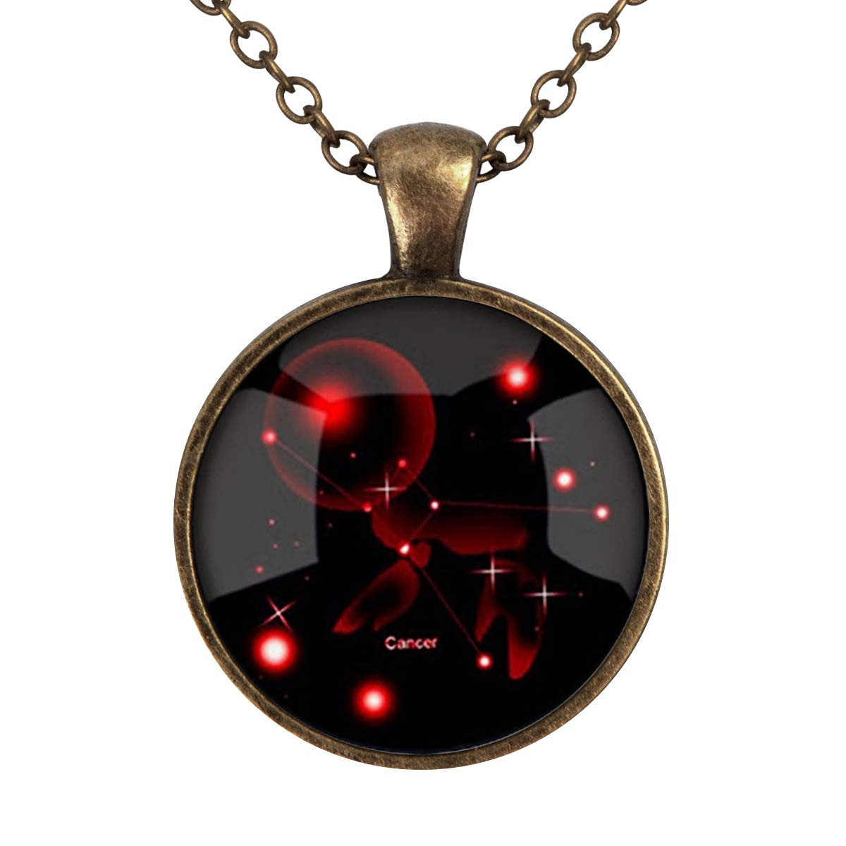 Family Decor Cancer Constellation Pendant Necklace Cabochon Glass Vintage Bronze Chain Necklace Jewelry Handmade