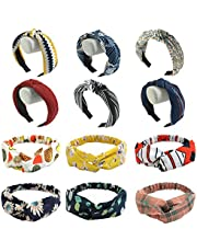 CHRISLZ 12 Packs Women Bow Headbands Wire Headband Floral Print Headwrap Twist Knot Hair Band Yoga Head Wraps Sports Elastic Turban(adults-12)
