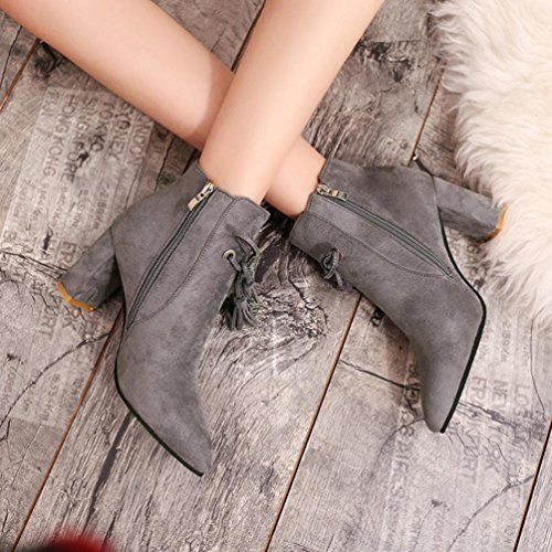 by Ankle Casual Boots Topunder Tassel Square Wild Women's Gray Heels Boots Hqfw866d