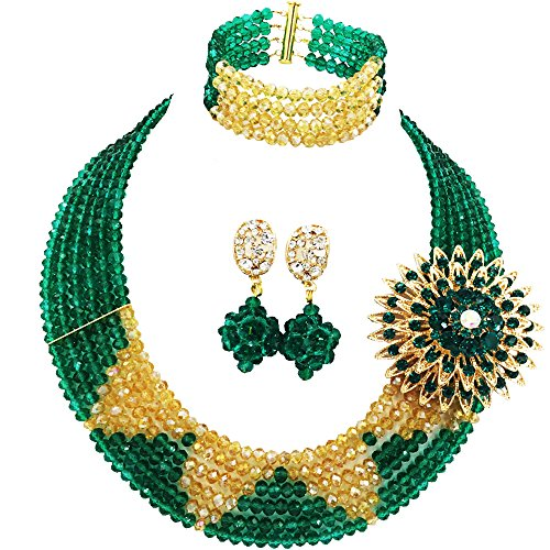 aczuv 6 Rows Crystal Nigerian Beaded Jewelry Set African Wedding Beads Bridal Jewelry Sets (Army Green and Gold AB)