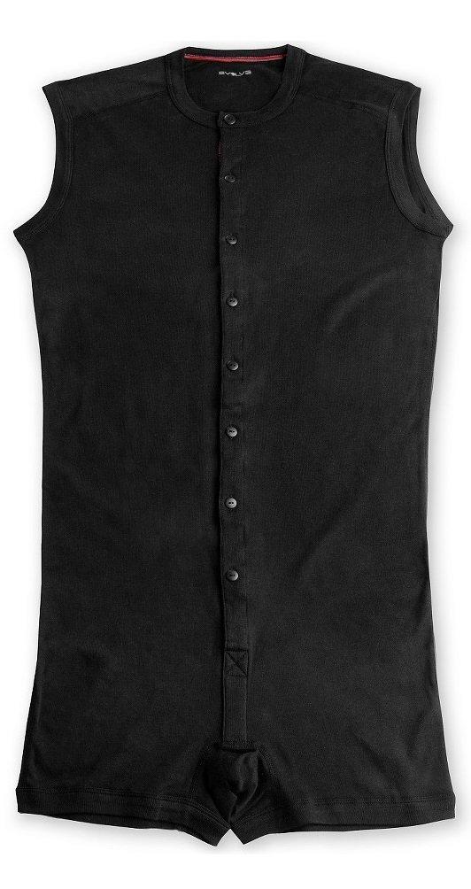 Evolve Men's Sleeveless One Piece Shorts Thermal Underwear (Large, Black)