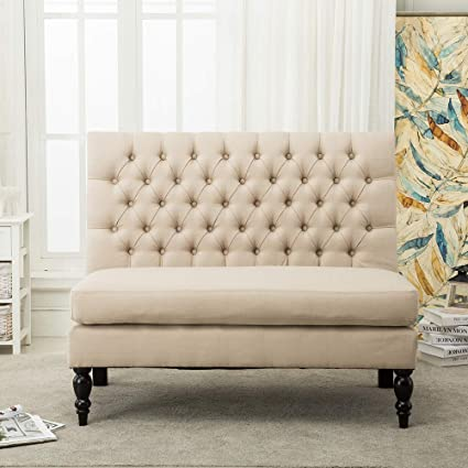 Modern Settee Bench Banquette Loveseat Sofa Button Tufted Fabric Sofa Couch  Chair 2 Seater