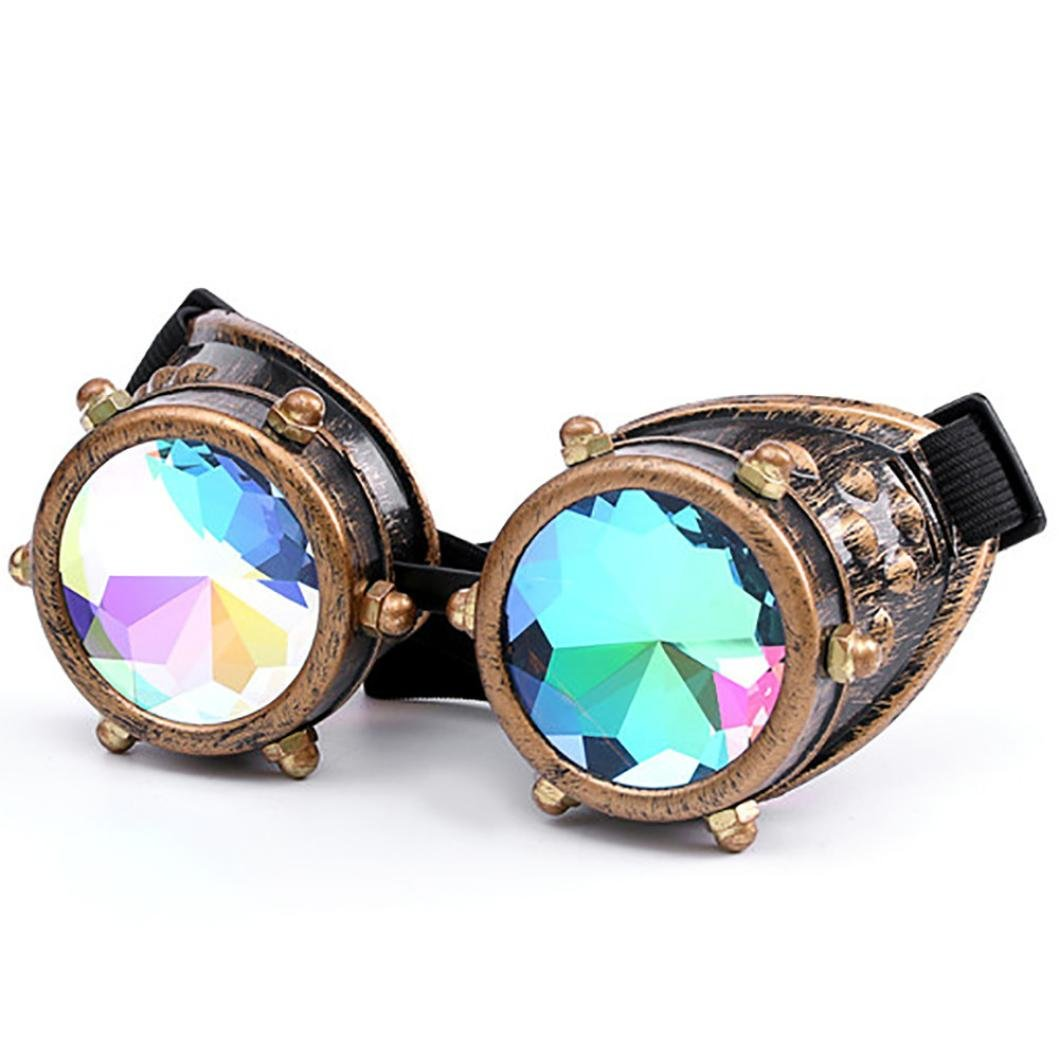 Rainbow Lens Glasses Costume Photo Props Vintage Steampunk Goggles Glasses Gothic Cosplay Goggles Chartsea Kaleidoscope Glasses Black