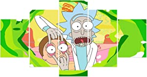 YIU Rick and Morty Poster Prints on Canvas Unframed Wall Scroll Home Decor for Boys