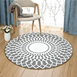 Grey and White Round Bedroom Rug Soft Comfortable Wearable Easy Clean ( Size : 100 cm diameter )