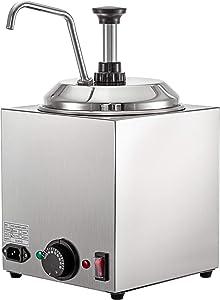 VBENLEM Cheese Dispenser with Pump, 2.6Qt Capacity Hot Fudge Warmer with Pump, 650W Cheese Warmer, Stainless Steel Cheese Dispenser with Pump for Hot Fudge Cheese Caramel